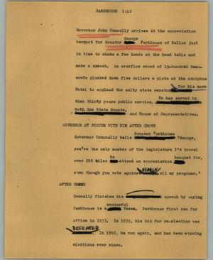 Primary view of object titled '[News Script: Parkhouse]'.