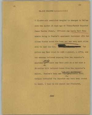 Primary view of object titled '[News Script: Ex-con charged]'.