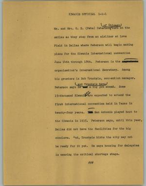 Primary view of object titled '[News Script: Kiwanis official]'.