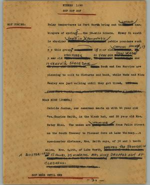 Primary view of object titled '[News Script: Hikers]'.