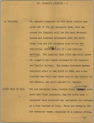 Primary view of object titled '[News Script: St. Joseph's addition]'.