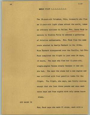Primary view of object titled '[News Script: Woman pilot]'.