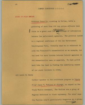 Primary view of object titled '[News Script: Lawmen conference]'.