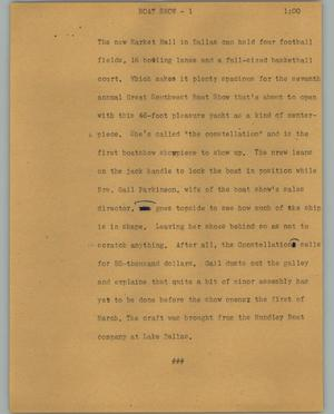 Primary view of object titled '[News Script: Boat show]'.