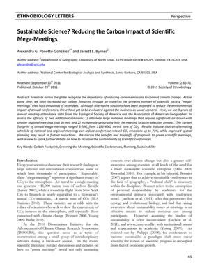 Sustainable Science? Reducing the Carbon Impact of Scientific Mega-Meetings