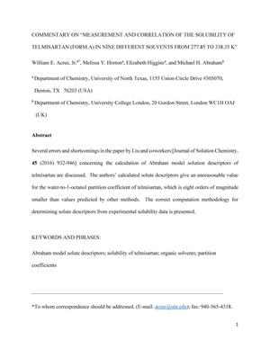 """Commentary on """"Measurement and Correlation of the Solubility of Telmisartan (Form A) in Nine Different Solvents from 277.85 to 338.35 K"""""""