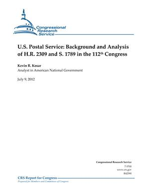 U.S. Postal Service: Background and Analysis of H.R. 2309 and S. 1789 in the 112th Congress