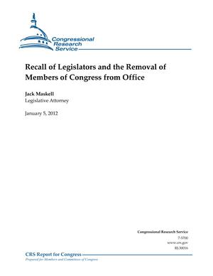 Recall of Legislators and the Removal of Members of Congress from Office