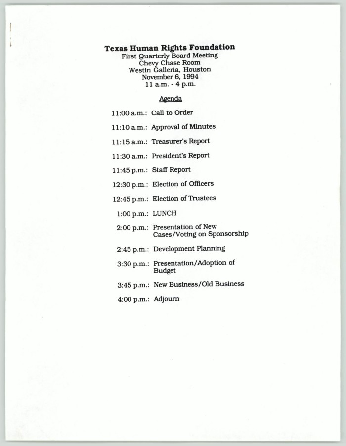 Texas Human Rights Foundation first quarterly board meeting agenda ...