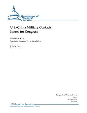 U.S.-China Military Contacts: Issues for Congress