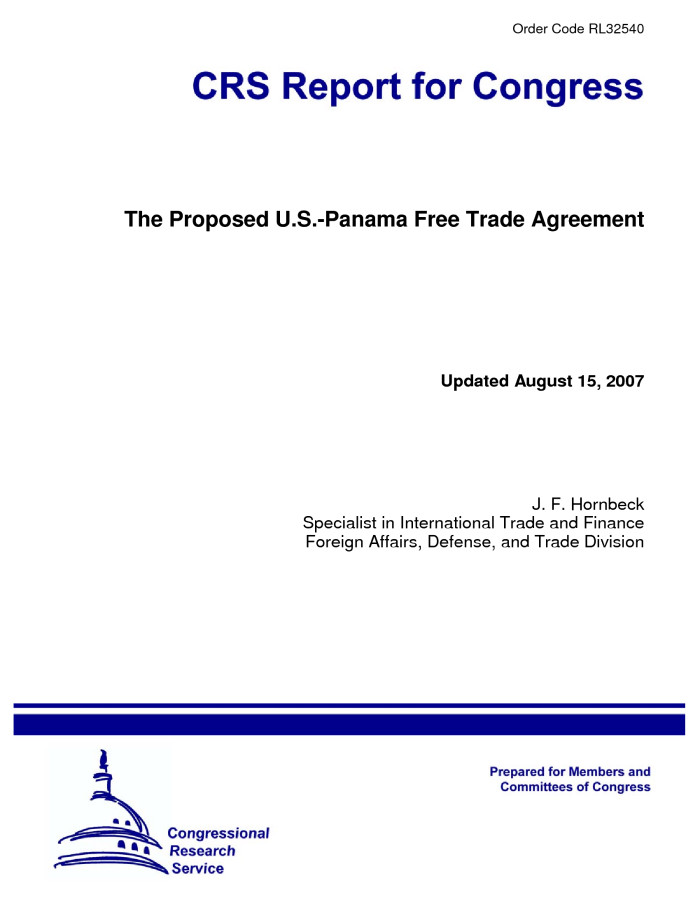 The Proposed Us Panama Free Trade Agreement Digital Library