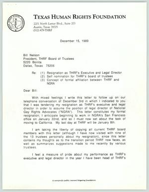 Primary view of [Letter from David Bryan to Bill Nelson concerning his resignation]