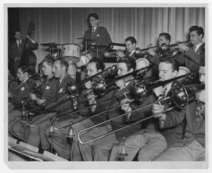 Primary view of object titled '[Kenton band at Metropolitan Theater in Providence, RI]'.