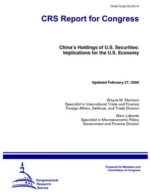 China's Holdings of U.S. Securities: Implications for the U.S. Economy