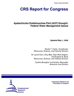 Apalachicola-Chattahoochee-Flint (ACF) Drought: Federal Water Management Issues