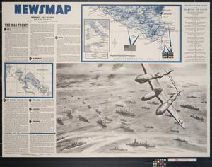 Primary view of object titled 'Newsmap. Monday, July 19, 1943 : week of July 8 to July 15, 201st week of the war, 83rd week of U.S. participation'.