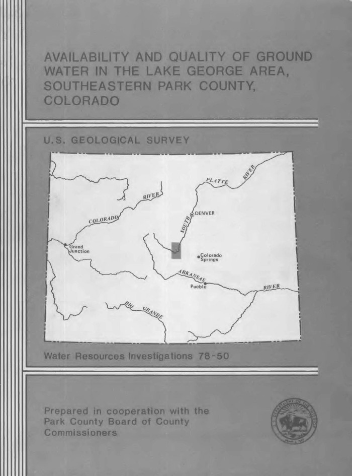Availability And Quality Of Ground Water In The Lake George Area