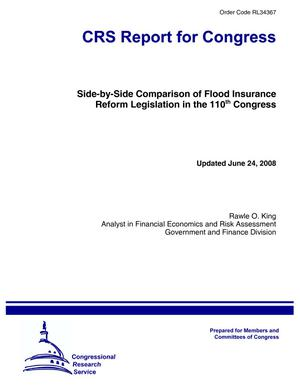 Side-by-Side Comparison of Flood Insurance Reform Legislation in the 110th Congress