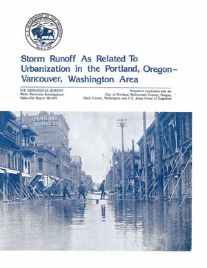 Primary view of object titled 'Storm Runoff as Related to Urbanization in the Portland, Oregon-Vancouver, Washington Area'.