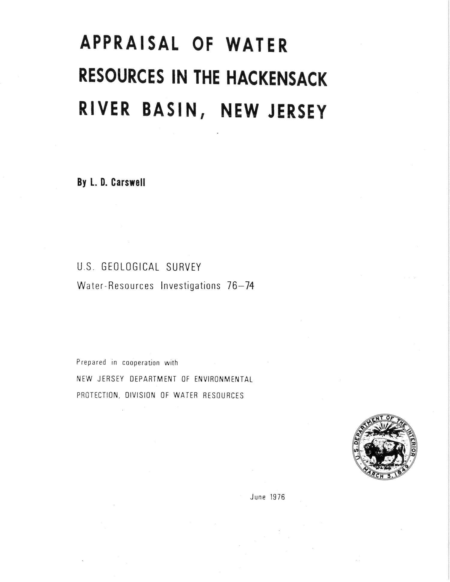 Appraisal of Water Resources in the Hackensack River Basin, New Jersey                                                                                                      Title Page