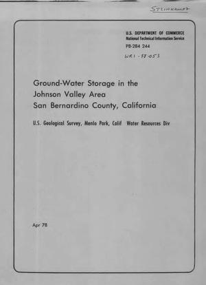 Primary view of object titled 'Ground-Water Storage in the Johnson Valley Area, San Bernardino County, California'.