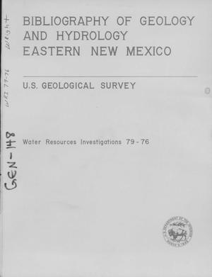 Primary view of object titled 'Bibliography of Geology and Hydrology, Eastern New Mexico'.