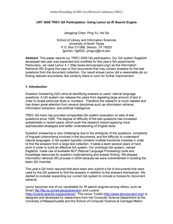 UNT 2005 TREC QA Participation: Using Lemur as IR Search Engine