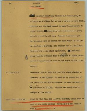 Primary view of object titled '[News Script: Satchmo]'.