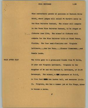 Primary view of object titled '[News Script: Miss Universe]'.