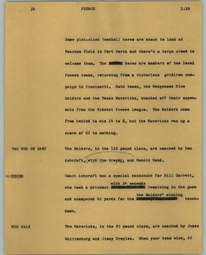 Primary view of object titled '[News Script: Peewee]'.