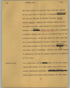 Primary view of object titled '[News Script: Captain Cole]'.