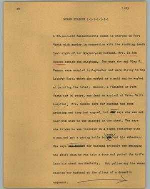 Primary view of object titled '[News Script: Woman stabber]'.