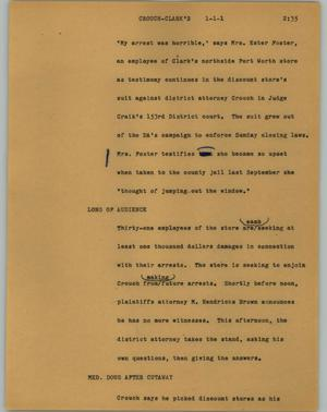 Primary view of object titled '[News Script: Crouch-Clark's]'.