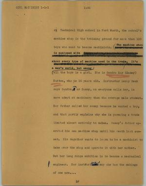 Primary view of object titled '[News Script: Girl Machinist]'.