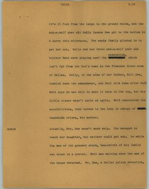 Primary view of object titled '[News Script: Child]'.