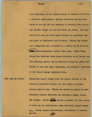 Primary view of object titled '[News Script: Killer]'.