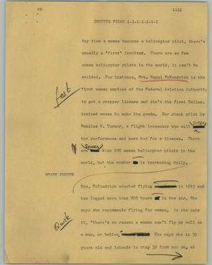 Primary view of object titled '[News Script: Chopper pilot]'.
