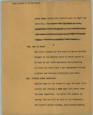 Primary view of object titled '[News Script: Trio hauled to court]'.