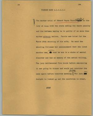 Primary view of object titled '[News Script: Farris case]'.
