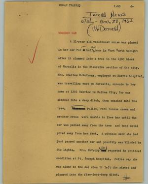 Primary view of object titled '[News Script: Woman trapped]'.