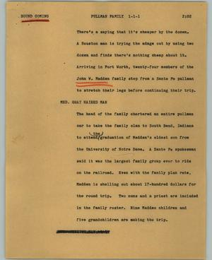 Primary view of object titled '[News Script: Pullman family]'.