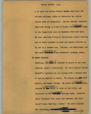 Primary view of object titled '[News Script: Dallas sniper]'.