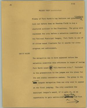 Primary view of object titled '[News Script: Frisco trip]'.