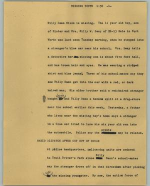 Primary view of object titled '[News Script: Missing youth]'.