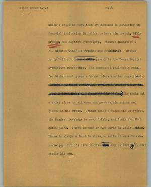 Primary view of object titled '[News Script: Billy Grham]'.