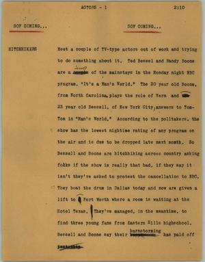 Primary view of object titled '[News Script: Actors]'.