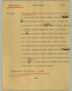 Primary view of object titled '[News Script: Vance Packard]'.