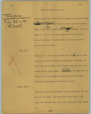 Primary view of object titled '[News Script: Negro drowned]'.