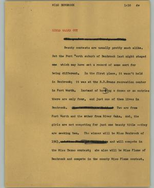 Primary view of object titled '[News Script: Miss Benbrook]'.