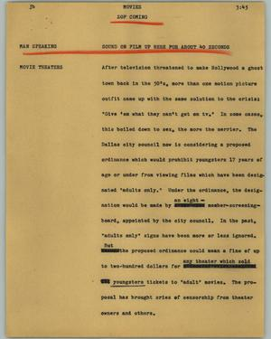 Primary view of object titled '[News Script: Movies]'.